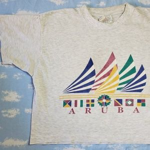 Vintage Aruba Crop Gray Marl Shirt Medium